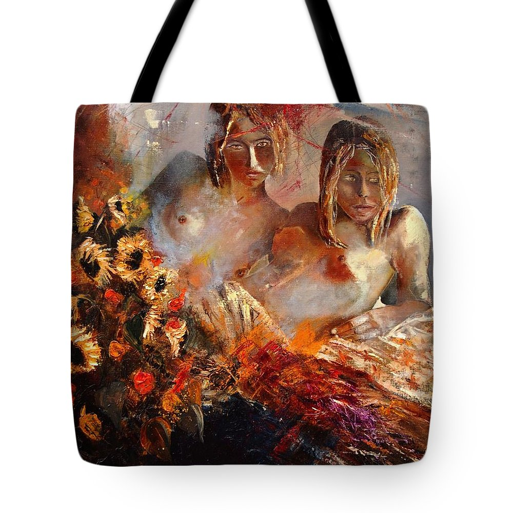 Girl Nude Tote Bag featuring the painting Two Friends by Pol Ledent