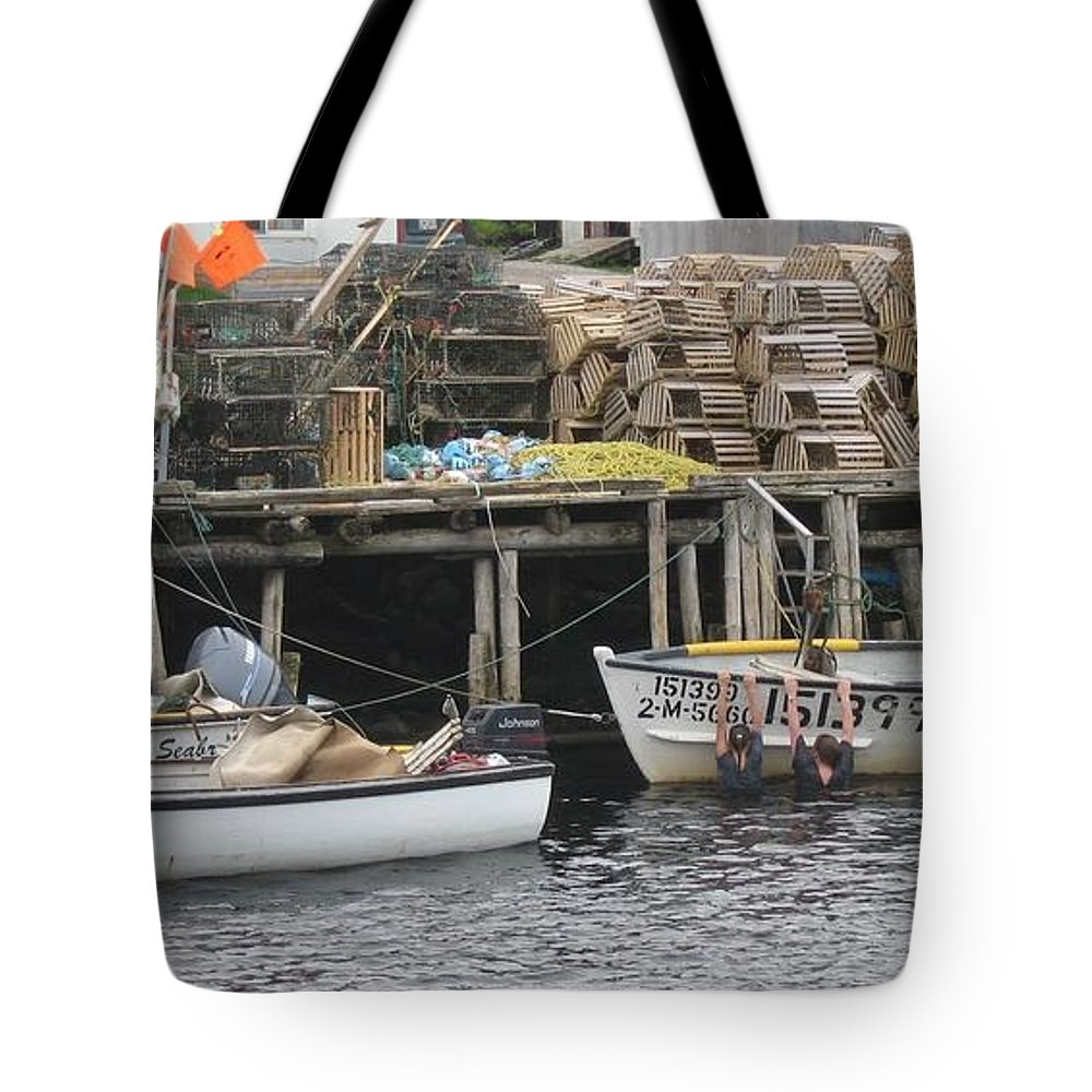 Photograph Atlantic Ocean Water Sea Swimming Girl Summer Newfoundland Bonnebay Boat Lobster Tote Bag featuring the photograph two girls swimming in the Atlantic Ocean by Seon-Jeong Kim