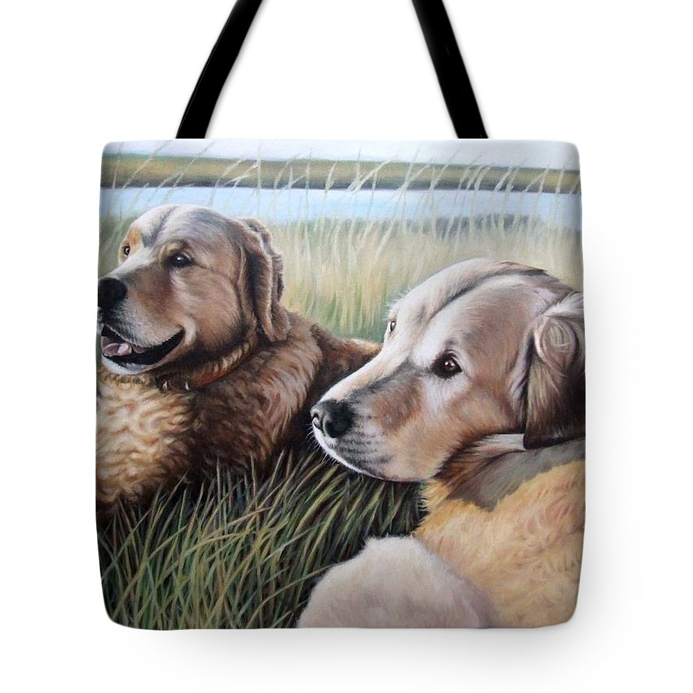 Dogs Tote Bag featuring the painting Two Golden Retriever by Nicole Zeug