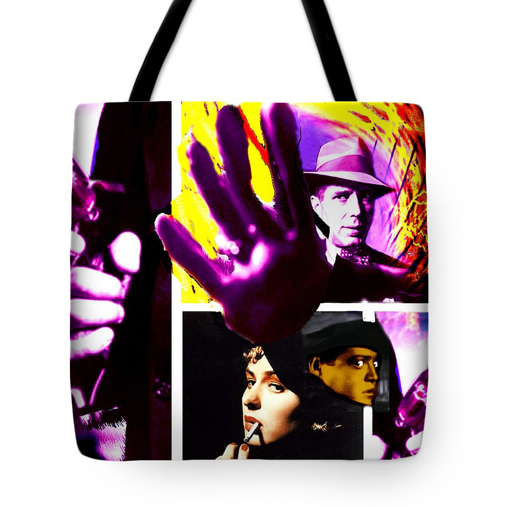 Humphrey Bogart Tote Bag featuring the digital art Two Guys Two Guns And A Dame by Seth Weaver