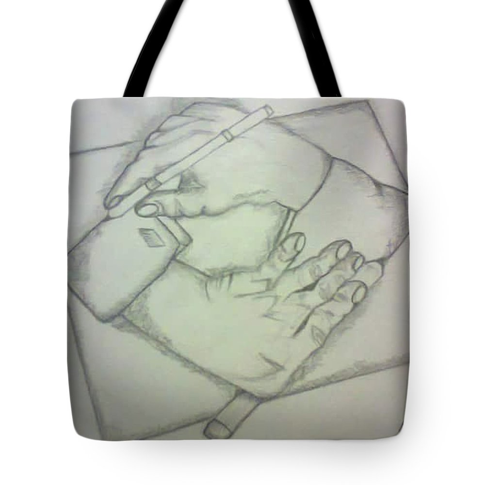 Two Hands Tote Bag featuring the drawing Two Hands by Saad Dilawer