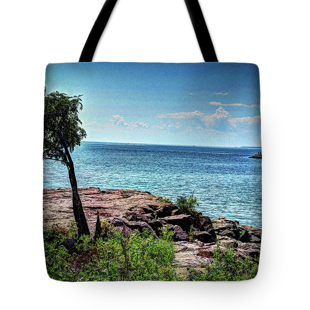 Lake Tote Bag featuring the photograph Two Harbors North Pierhead Light by Deborah Klubertanz