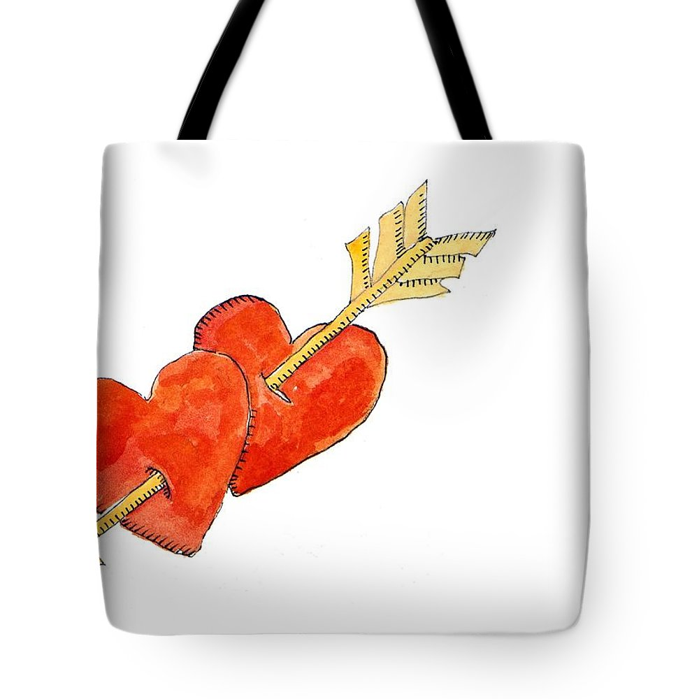 Hearts Tote Bag featuring the painting Two Hearts  Arrow by Jennifer Abbot