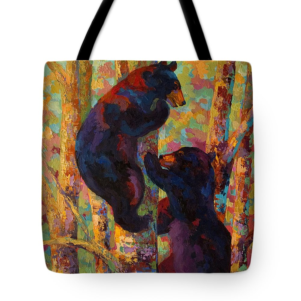 Bear Tote Bag featuring the painting Two High - Black Bear Cubs by Marion Rose
