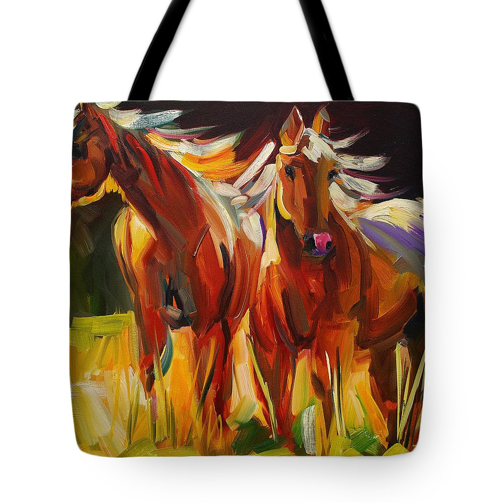 Painting Tote Bag featuring the painting Two Horse Town by Diane Whitehead