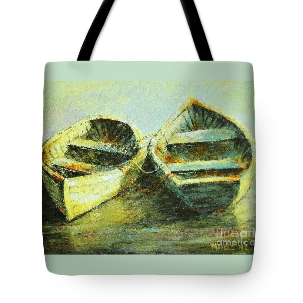Canvas Prints Tote Bag featuring the painting Two In A Row by Madeleine Holzberg