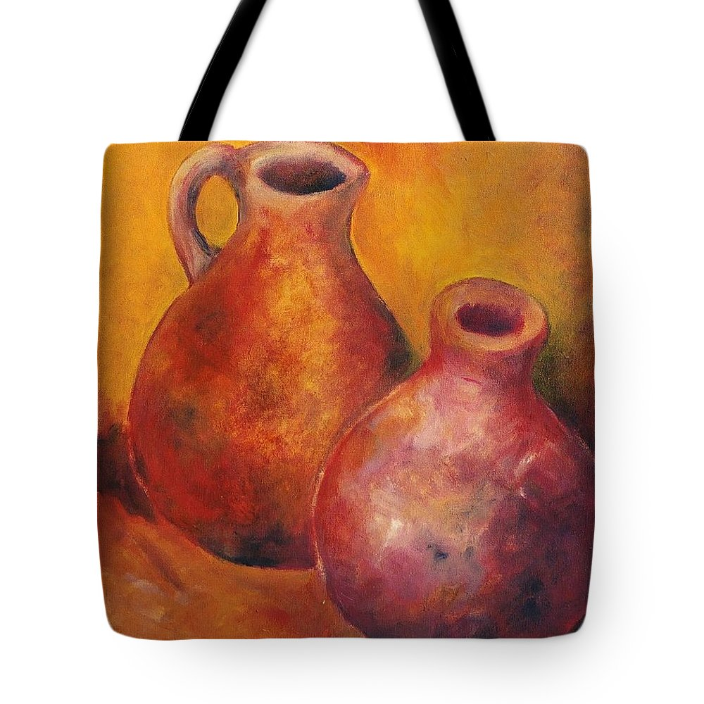 Oil Tote Bag featuring the painting Two Jars by Jun Jamosmos