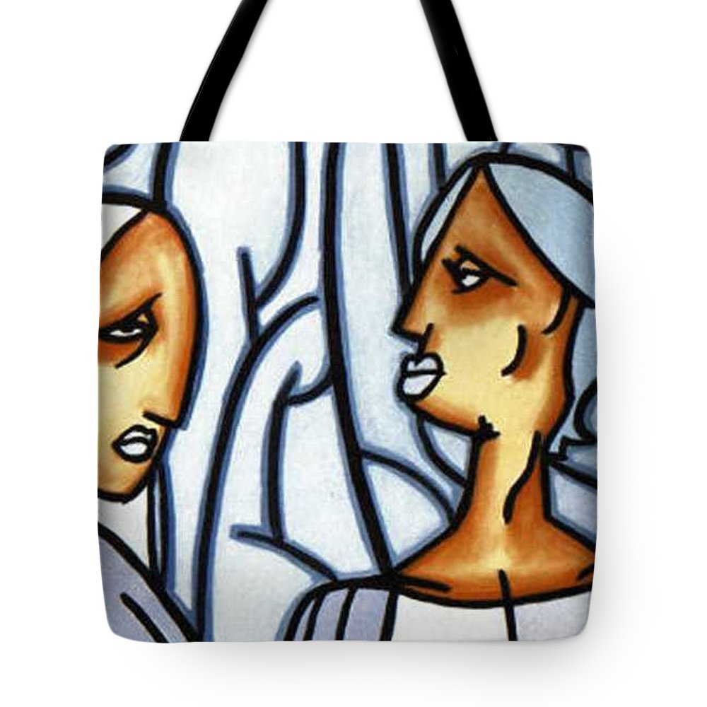 Portrait Tote Bag featuring the painting Two Ladies by Thomas Valentine