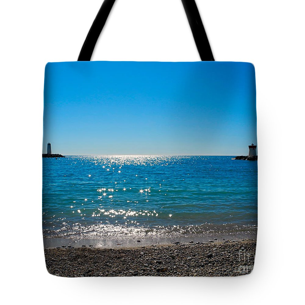 Sea Tote Bag featuring the photograph Two Lighthouse And The Wonderful Beach by Tatyana Gundar