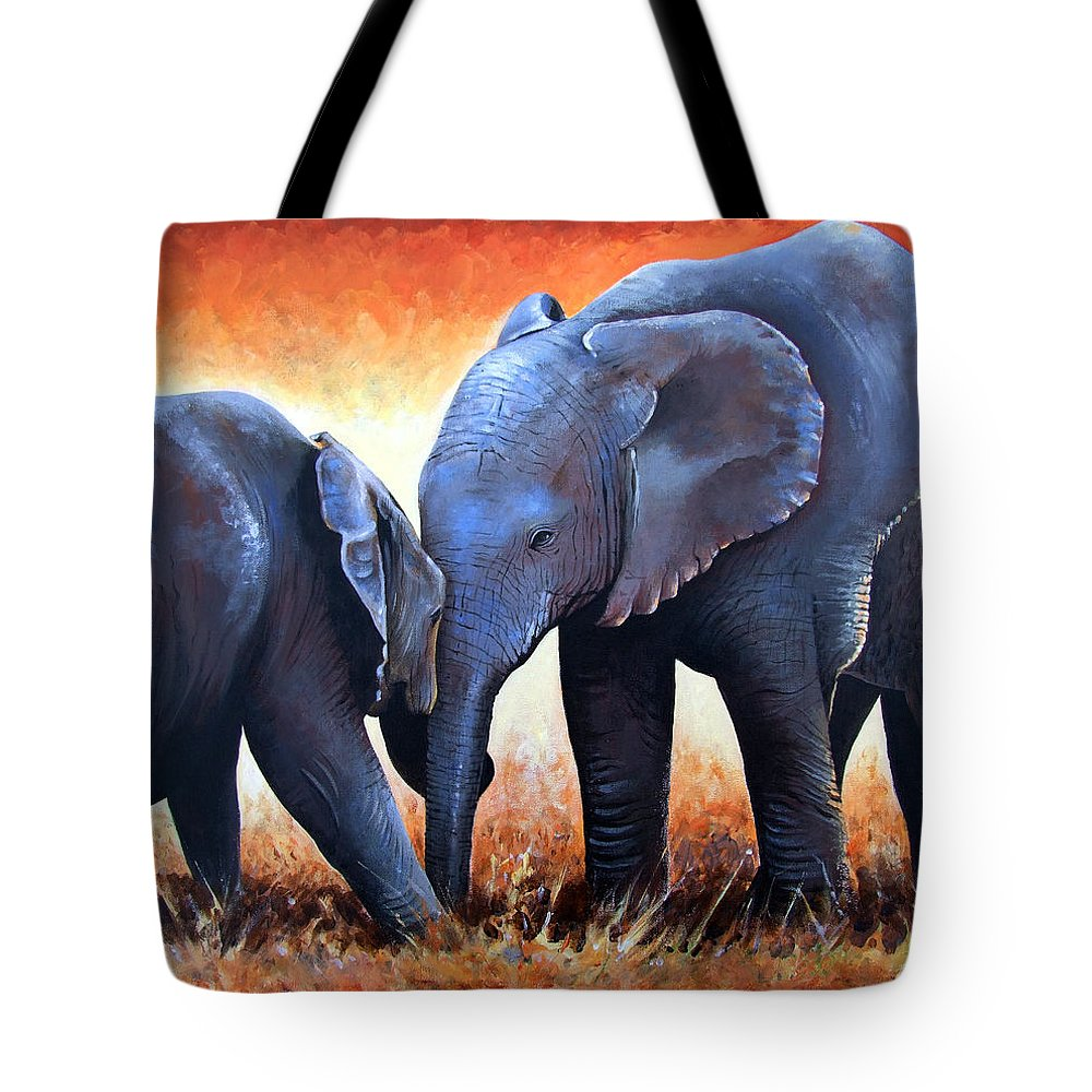 Elephants Tote Bag featuring the painting Two Little Elephants by Paul Dene Marlor