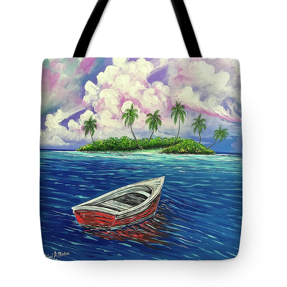 Island Boat Dingy Sea Ocean Sky Water Life Palms Palm Tree Beach Key West Canvas Painting Purple Blue White Green Red Fun Cute Fun Relaxing Colorful Scenery Nice Tote Bag featuring the painting Two Lonely Companions by Rafael Medina