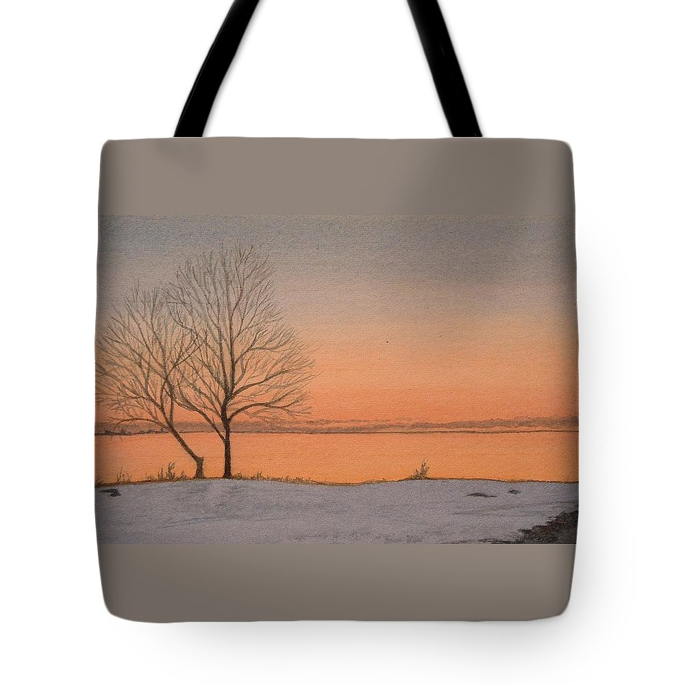Landscape Tote Bag featuring the painting Two Lovers At Sunset by Lynn ACourt
