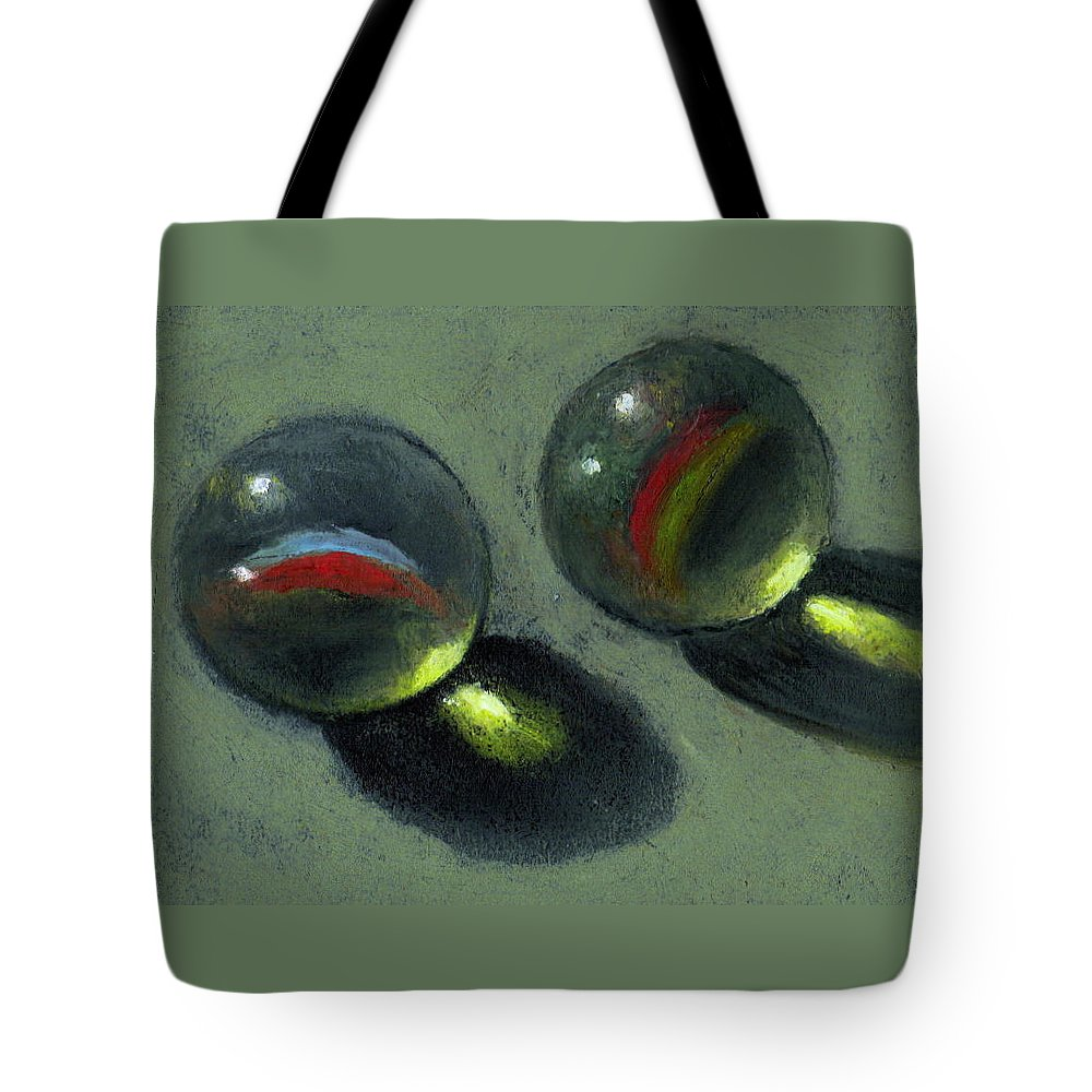 Marbles Tote Bag featuring the pastel Two Marbles In Pastel by Joyce Geleynse
