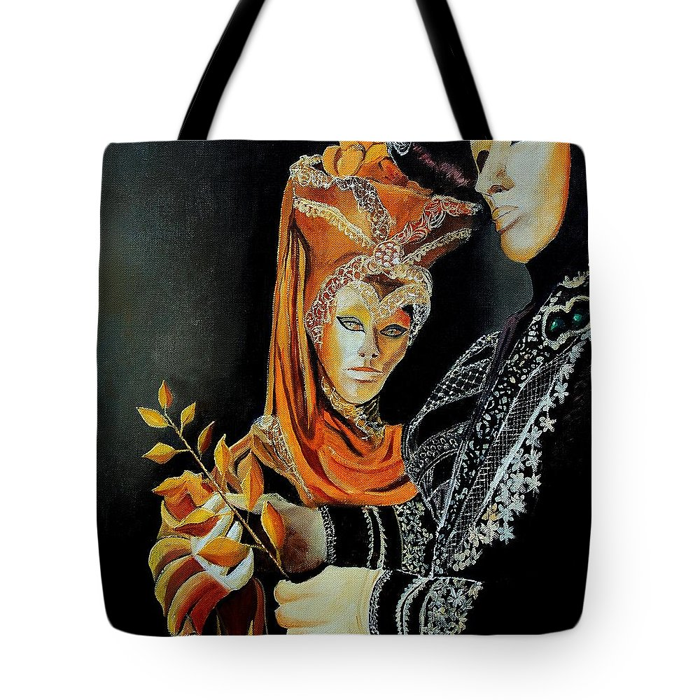 Mask Venice Carnavail Italy Tote Bag featuring the painting Two Masks In Venice by Pol Ledent