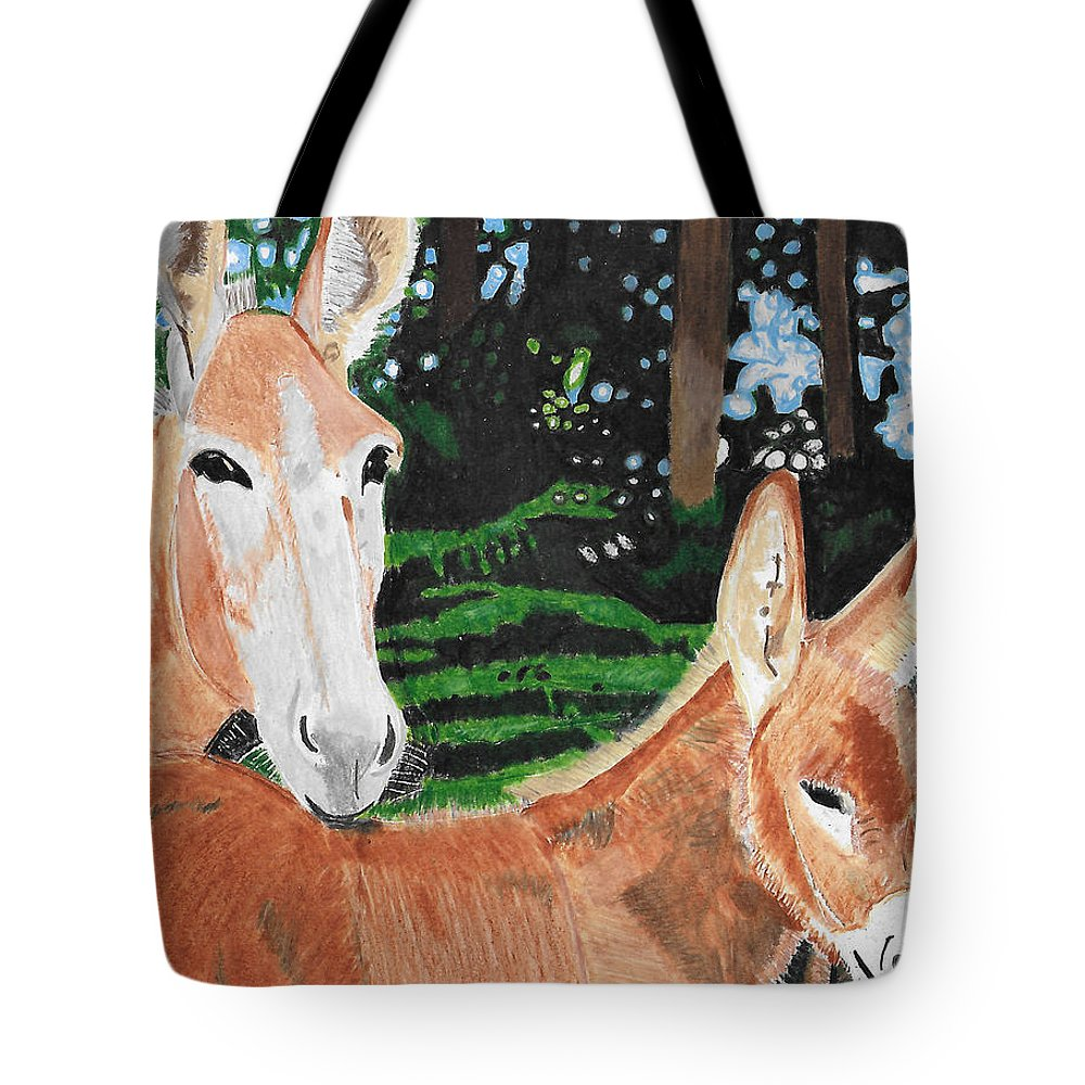 Animals Tote Bag featuring the painting Mother And Child by Dr Jessie Hummel