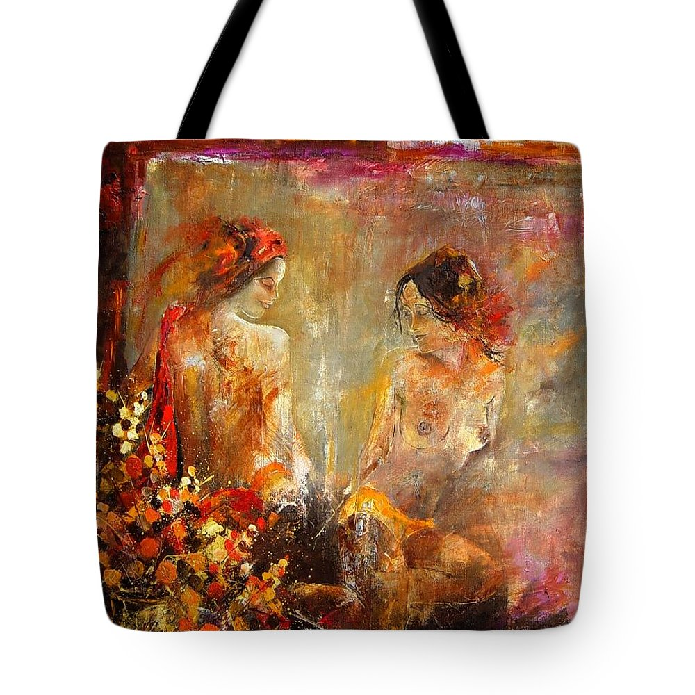 Girl Nude Tote Bag featuring the painting Two Nudes by Pol Ledent