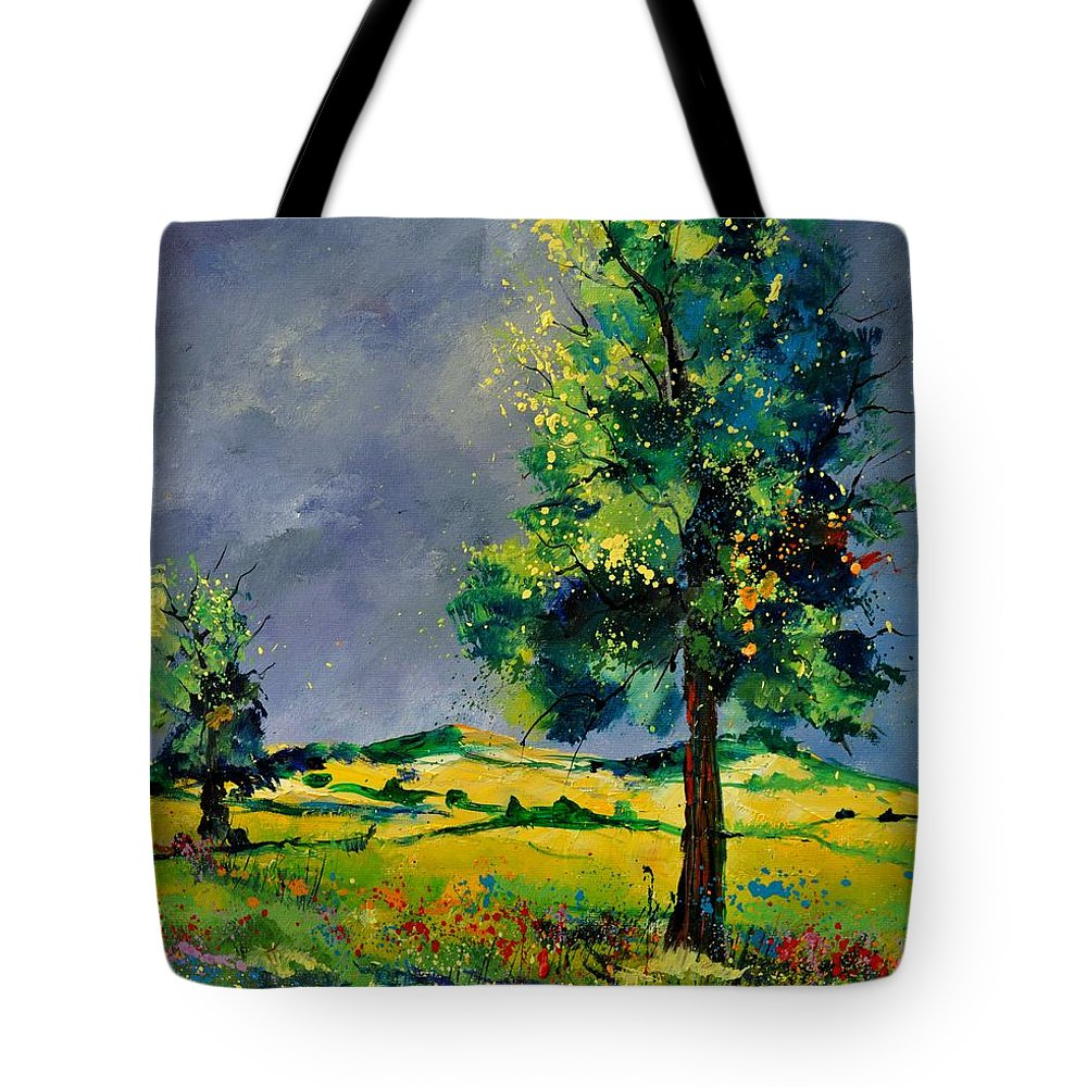 Landscape Tote Bag featuring the painting Two Oaks 56 by Pol Ledent
