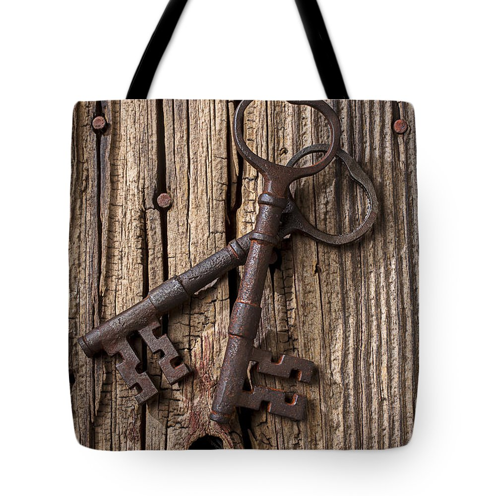 Old Tote Bag featuring the photograph Two Old Skeletons Keys by Garry Gay