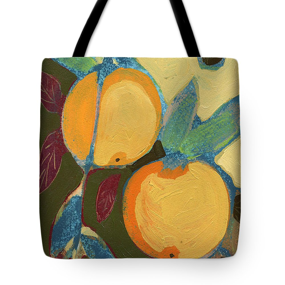 Orange Tote Bag featuring the painting Two Oranges by Jennifer Lommers