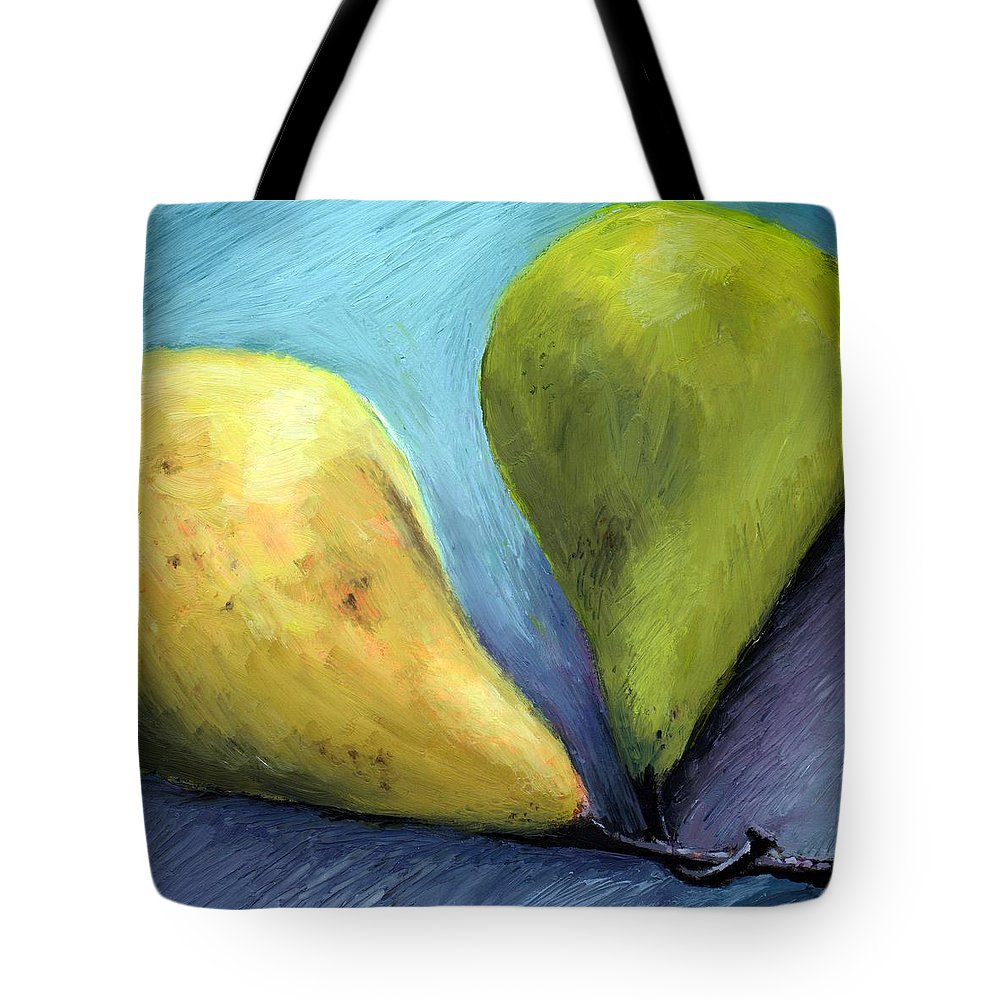 Pear Tote Bag featuring the painting Two Pears Still Life by Michelle Calkins