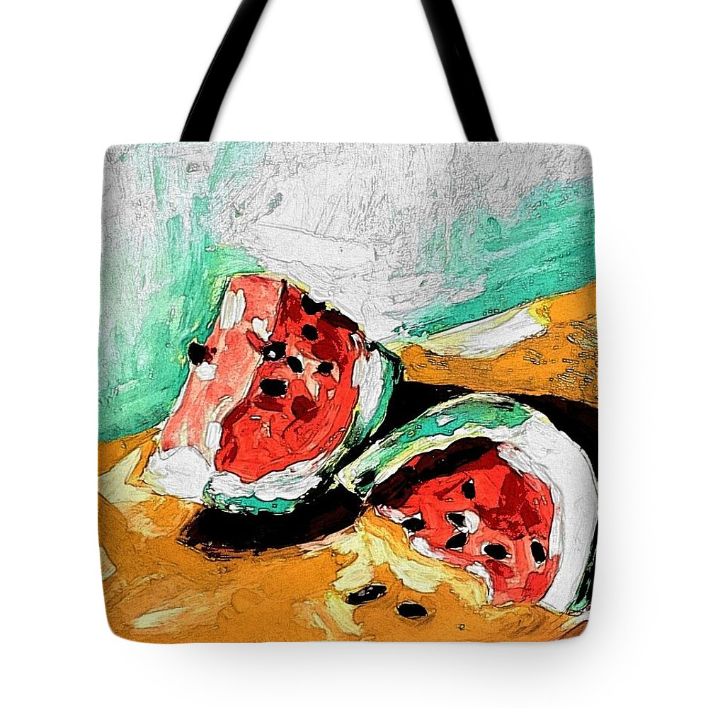 Watermelon Tote Bag featuring the painting Two Piece Watermelon by Hae Kim