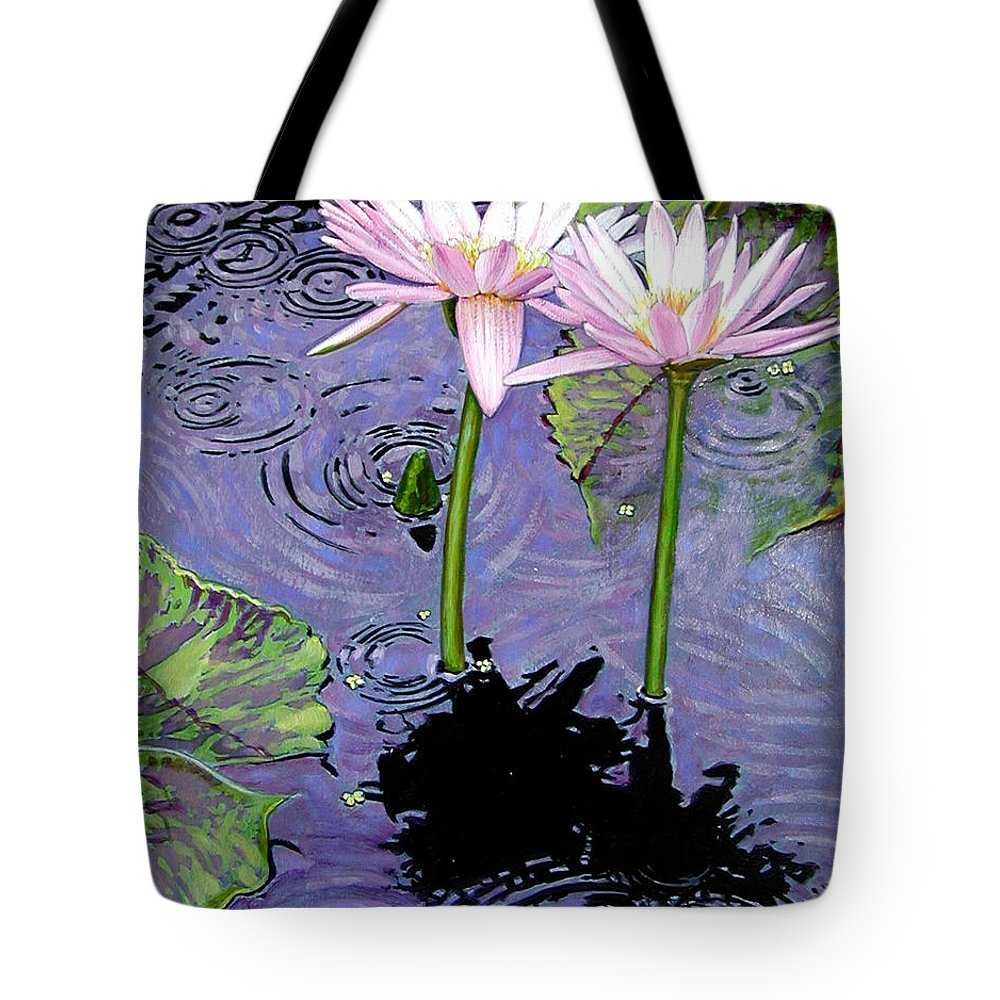 Pink Water Lilies Tote Bag featuring the painting Two Pink Lilies In The Rain by John Lautermilch