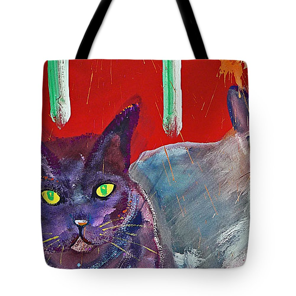 Cat Tote Bag featuring the painting Two Posh Cats by Charles Stuart