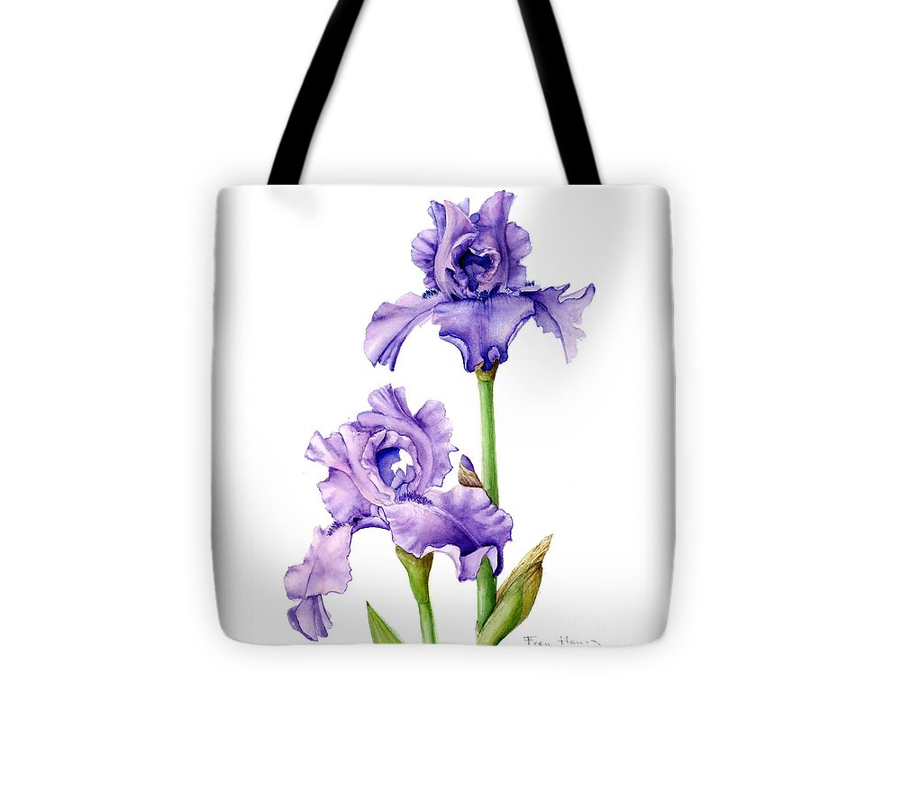 Botanical Tote Bag featuring the painting Two Purple Irises by Fran Henig