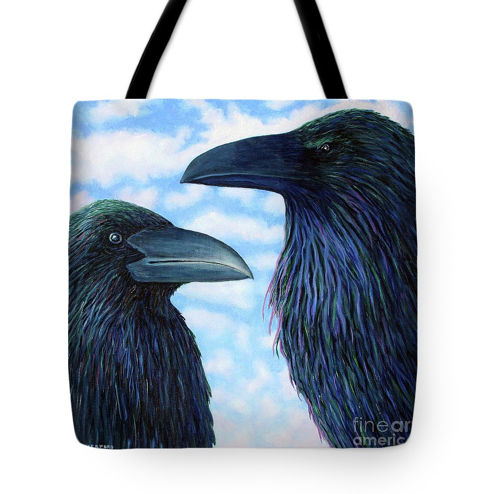 Raven Tote Bag featuring the painting Two Ravens by Brian Commerford