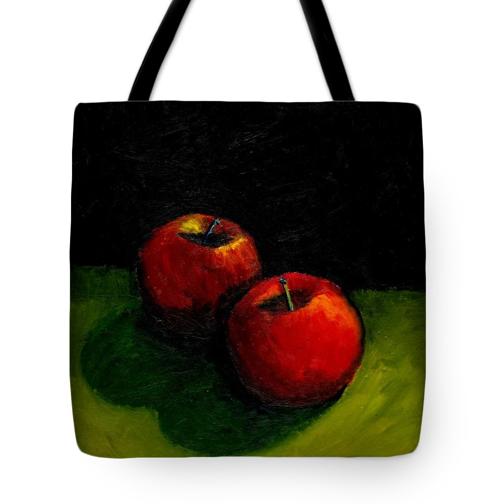 Red Tote Bag featuring the painting Two Red Apples Still Life by Michelle Calkins