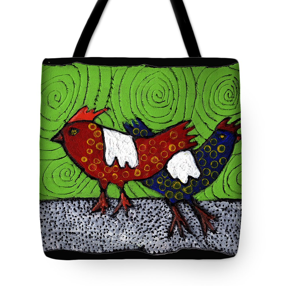 Chickens Tote Bag featuring the painting Two Roosters by Wayne Potrafka