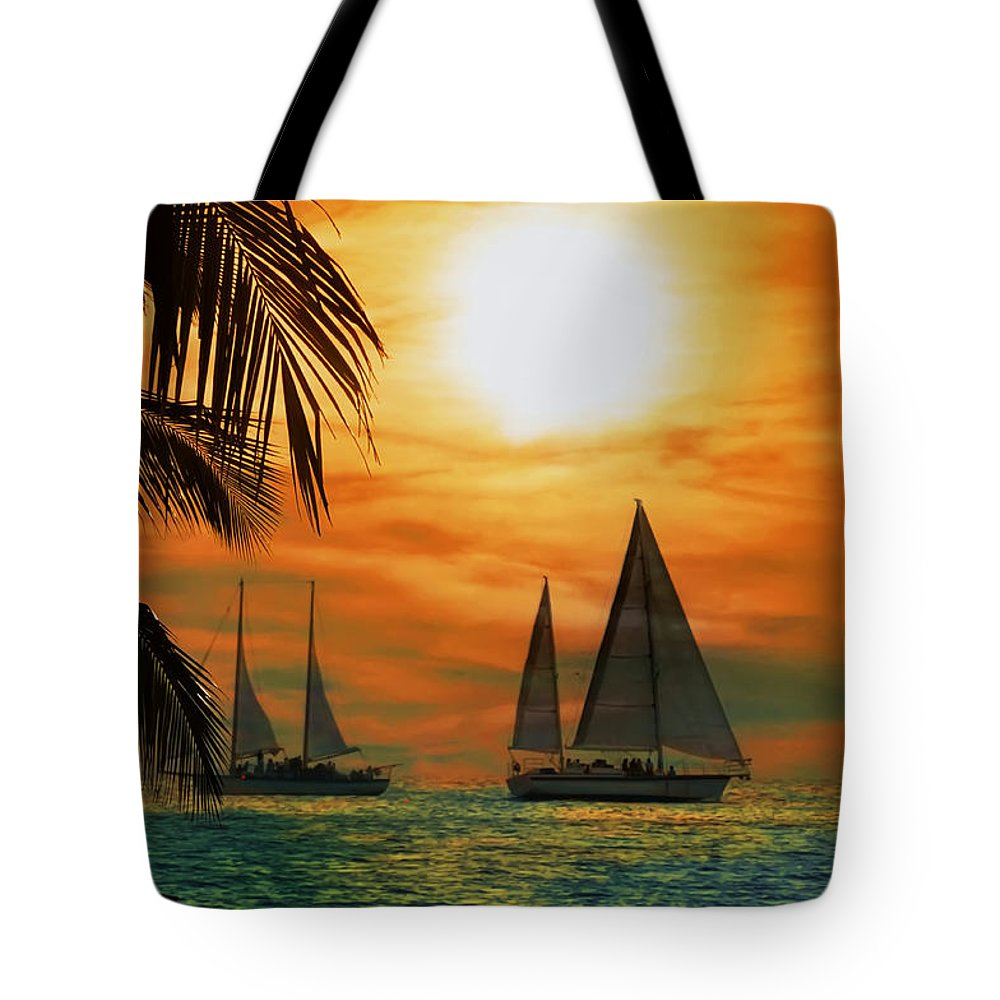 Sail Tote Bag featuring the photograph Two Ships Passing In The Night by Bill Cannon