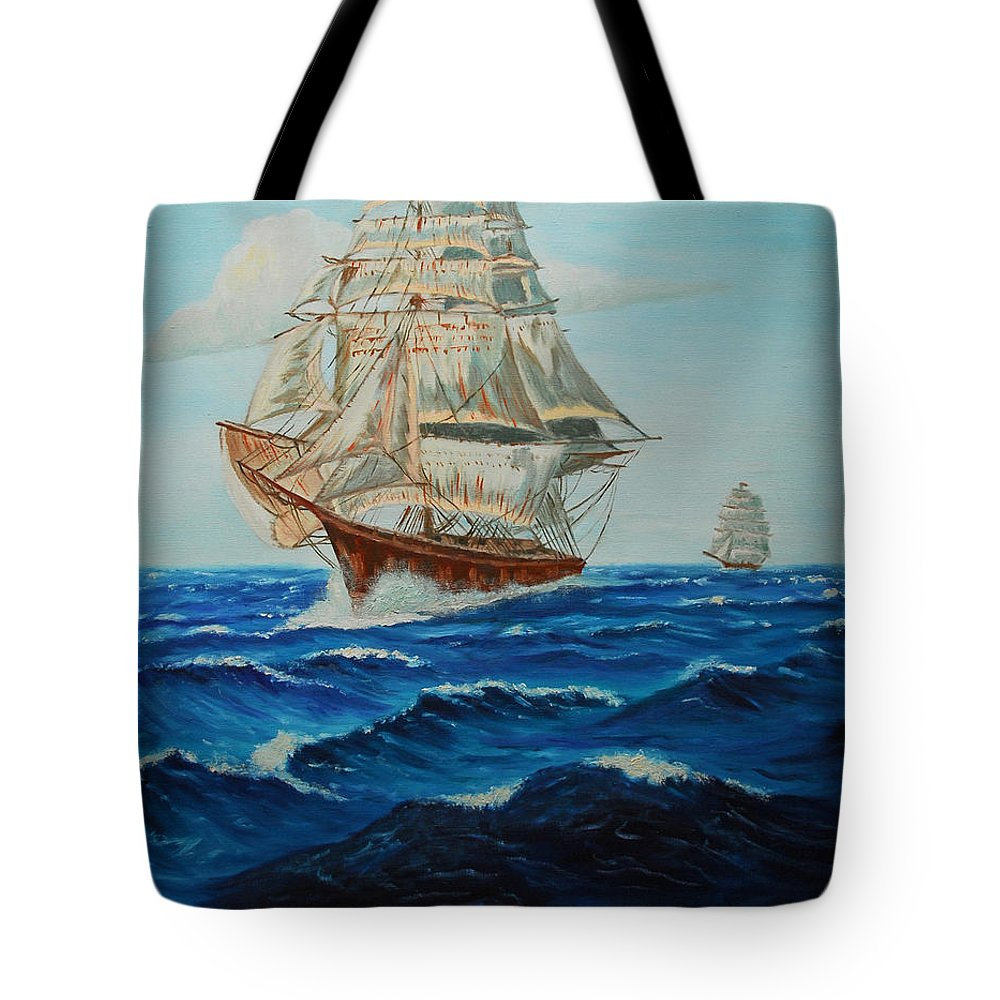 Ship Tote Bag featuring the painting Two Ships Sailing by Quwatha Valentine