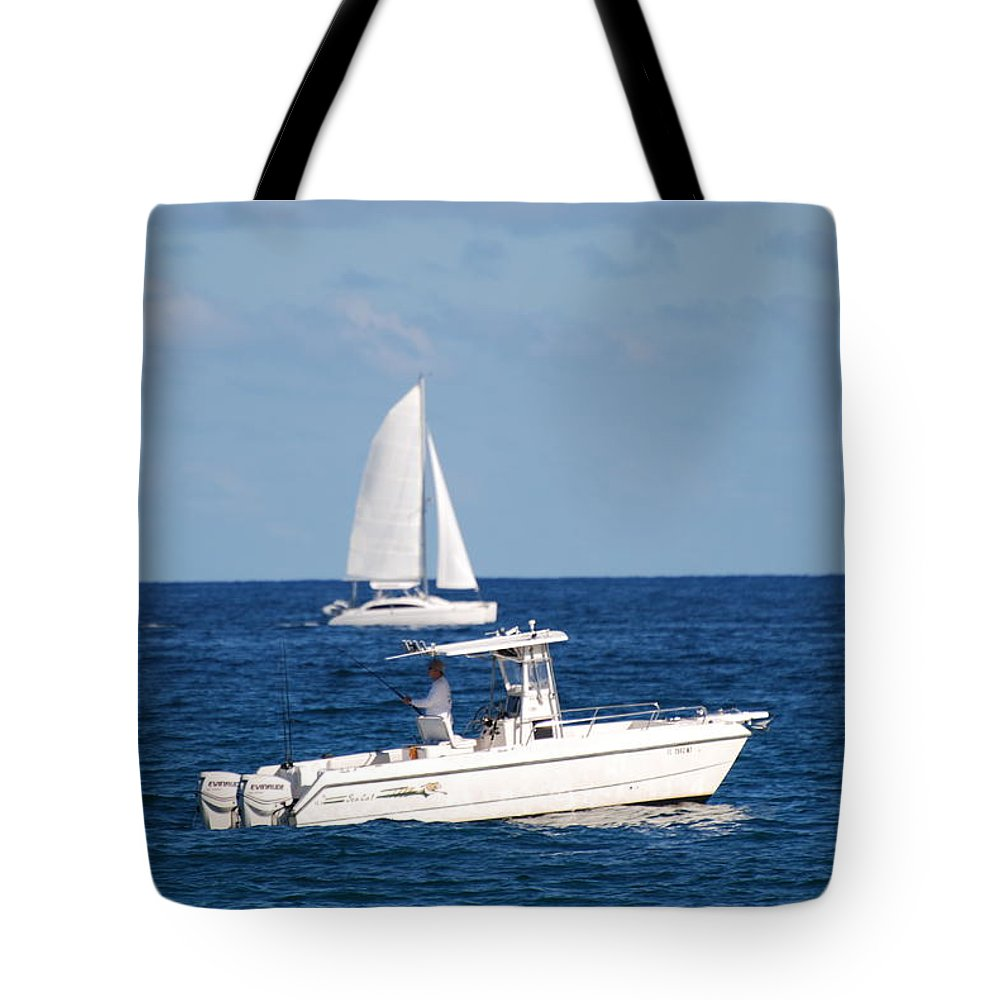 Sea Scape Tote Bag featuring the photograph Two Ships That Pass Thru The Day by Rob Hans