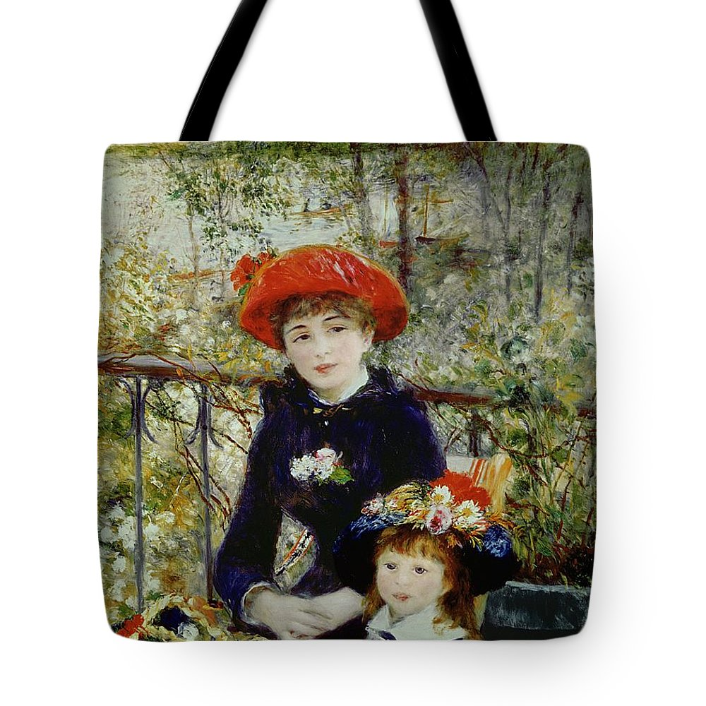 Two Tote Bag featuring the painting Two Sisters by Pierre Auguste Renoir