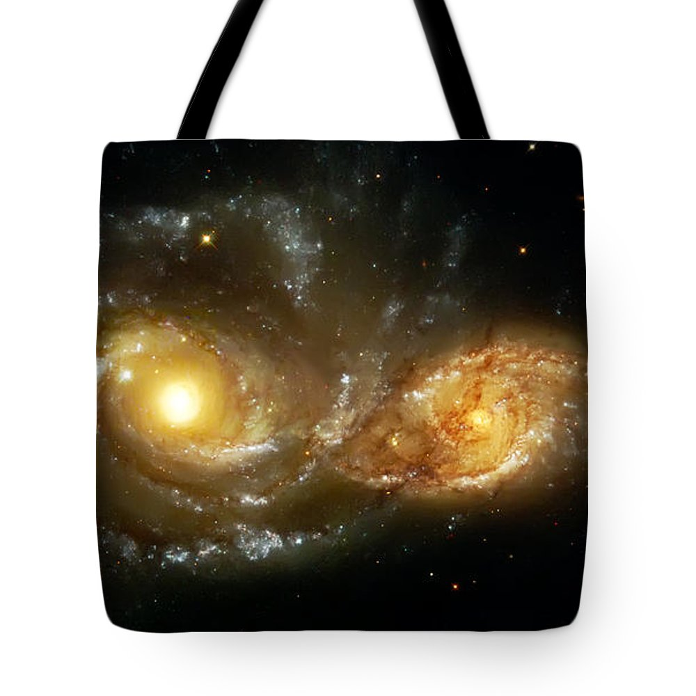 Nebula Tote Bag featuring the photograph Two Spiral Galaxies by Jennifer Rondinelli Reilly - Fine Art Photography