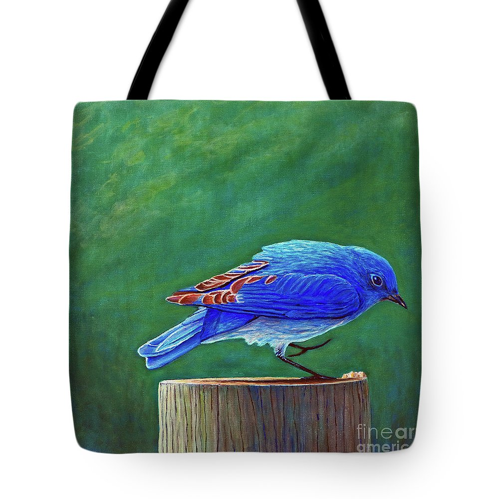 Bluebird Tote Bag featuring the painting Two Step by Brian Commerford