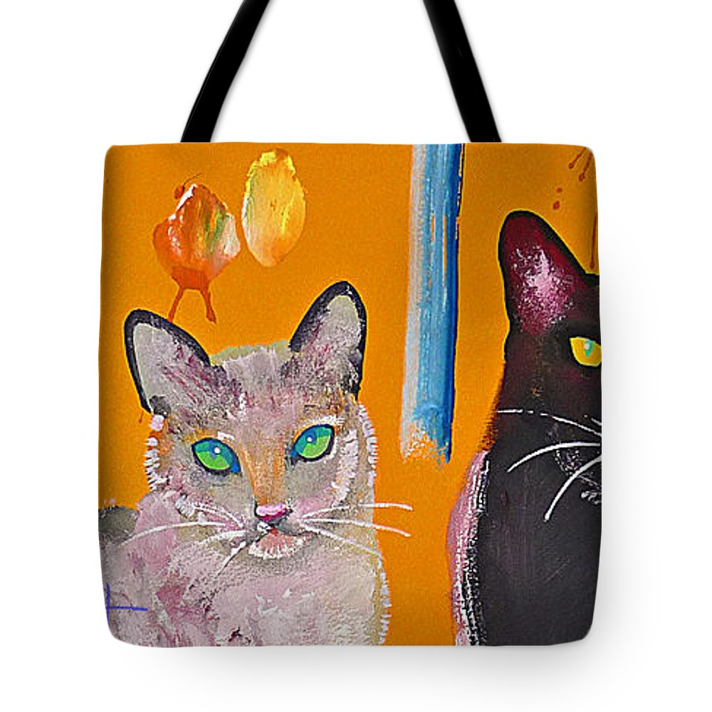 Cat Tote Bag featuring the painting Two Superior Cats With Wild Wallpaper by Charles Stuart
