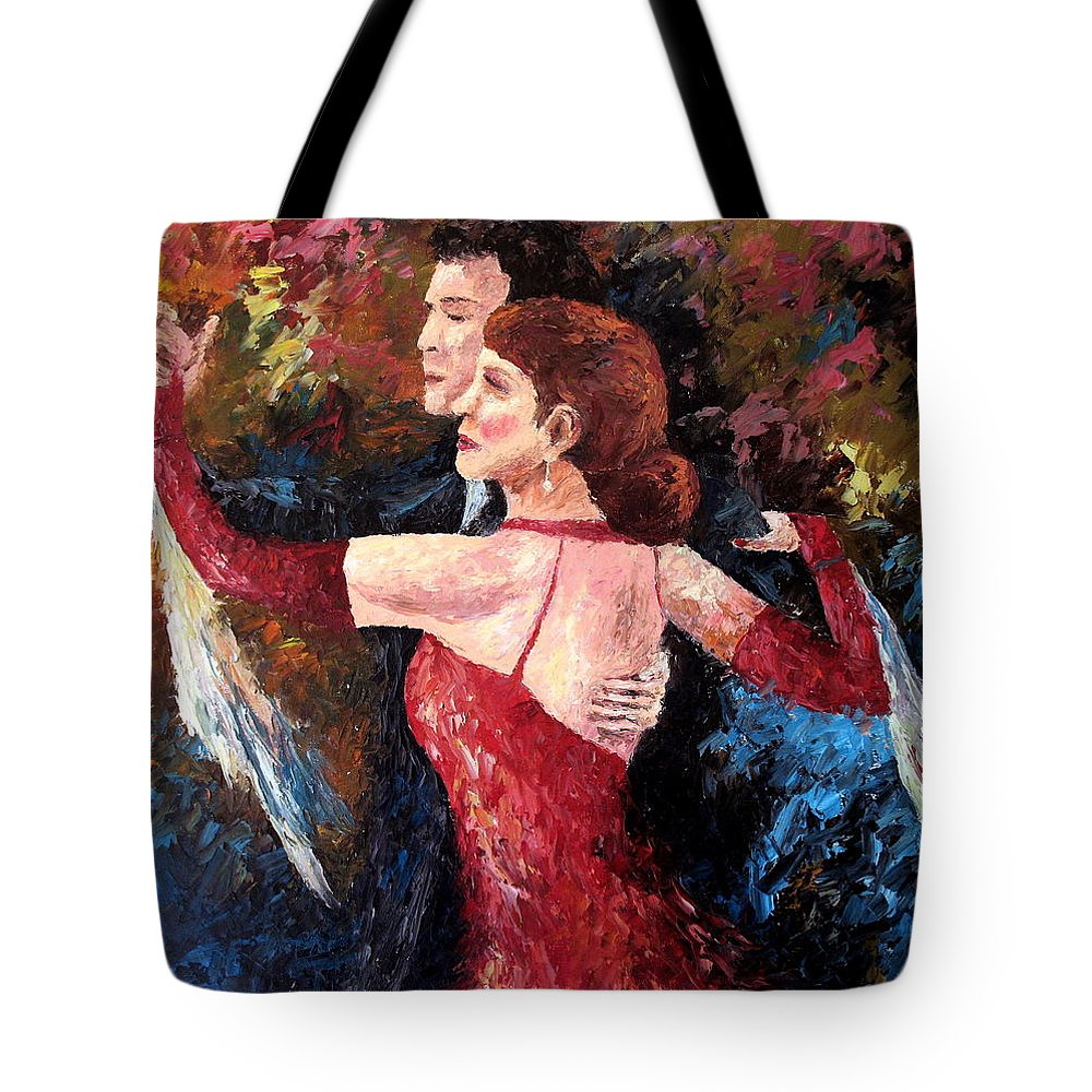 Tango Tote Bag featuring the painting Two To Tango by David G Paul