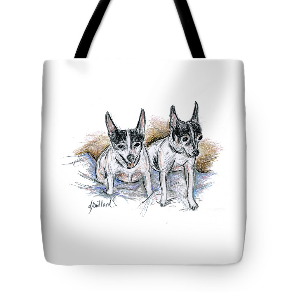 Dogs Tote Bag featuring the drawing Two Toy Fox Terriers by Deborah Willard