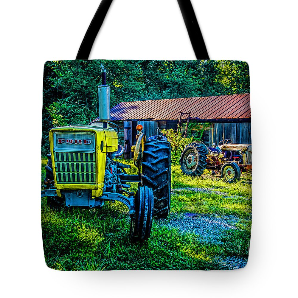 Two Tractors Tote Bag featuring the photograph Two Tractors And A Barn 2697t by Doug Berry