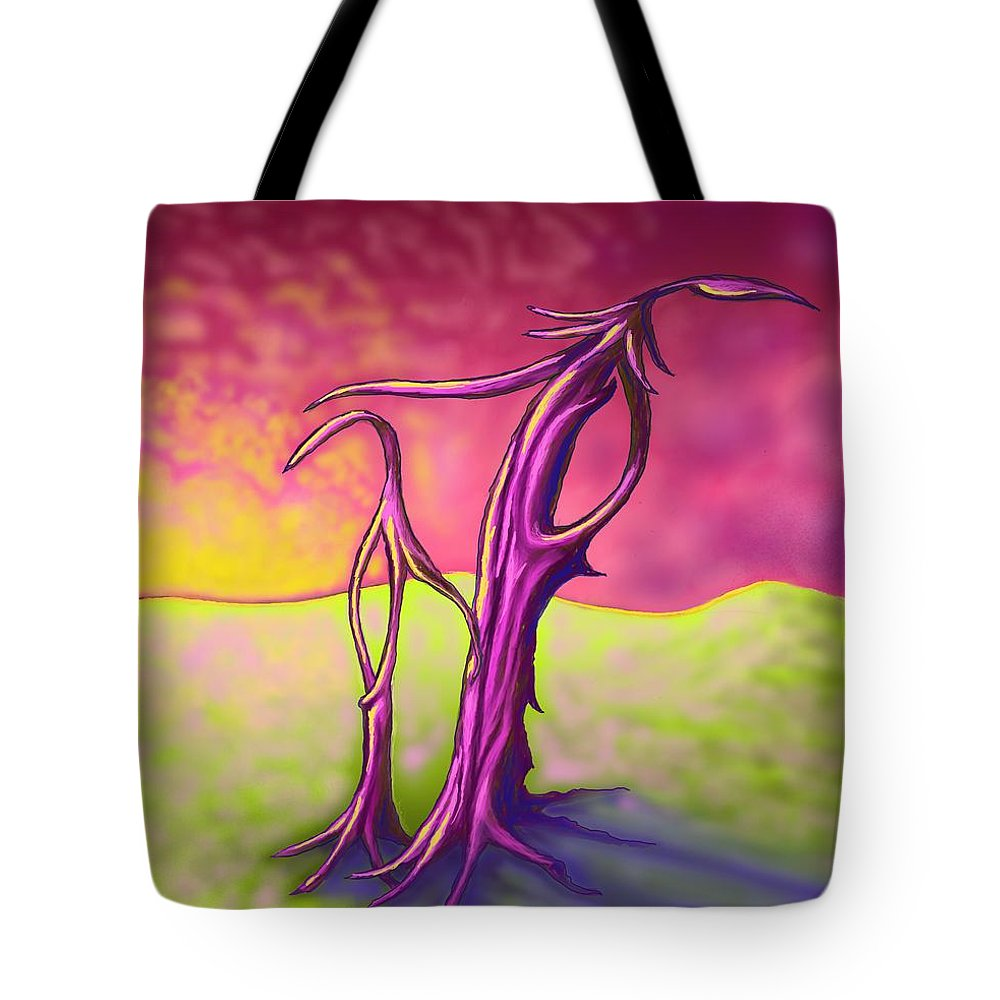 Impression Tote Bag featuring the digital art Two Trees by David Michael Schmidt