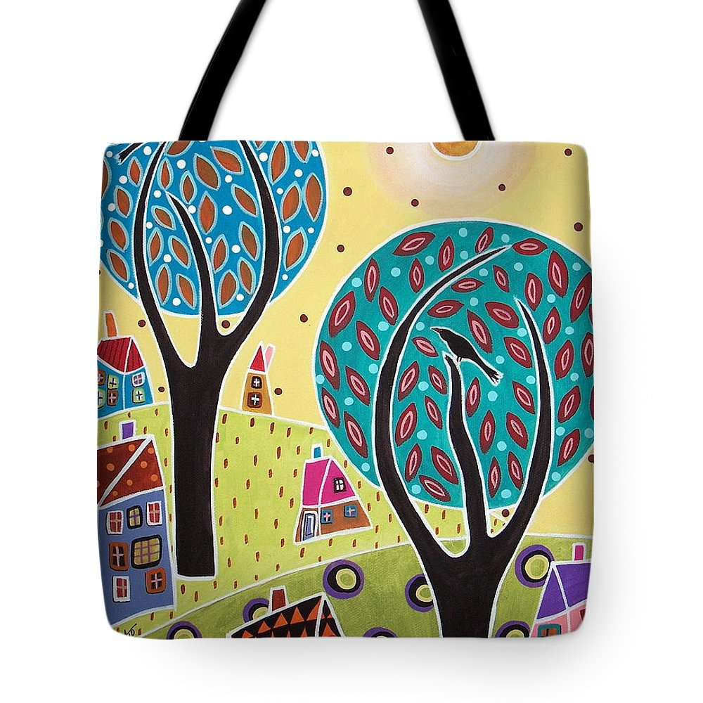 Flowers Tote Bag featuring the painting Two Trees Two Birds Landscape by Karla Gerard