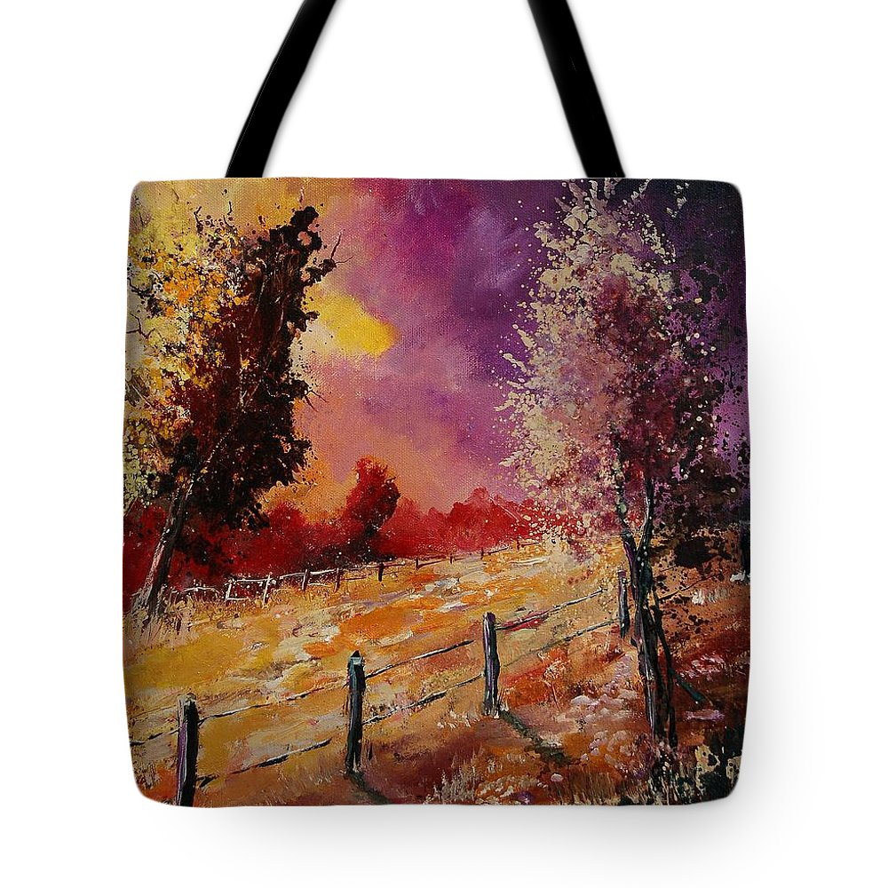 Tree Tote Bag featuring the painting Two Trees Waiting For The Storm by Pol Ledent