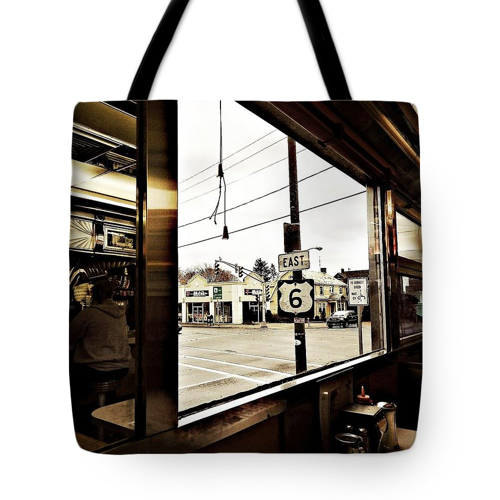 Eating Tote Bag featuring the photograph Two Views Inside The Orchid Diner by Kathy Barney