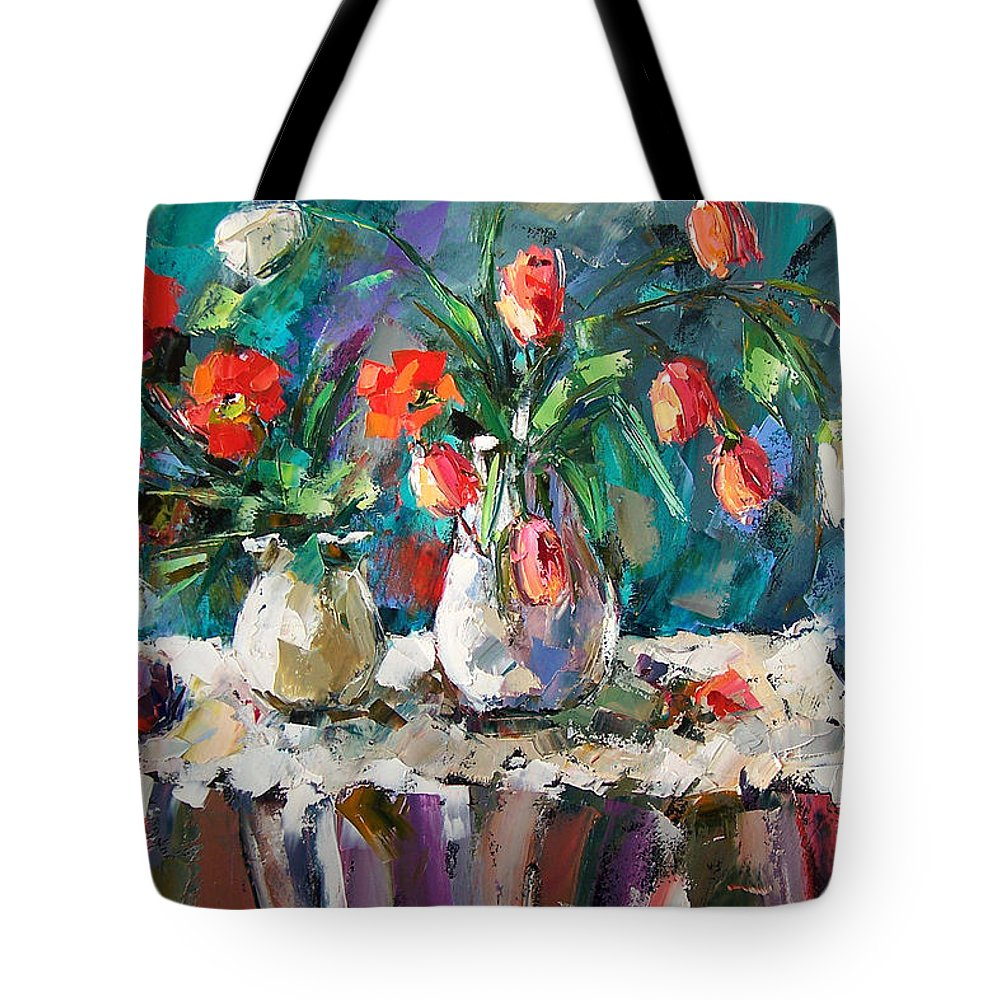 Flowers Tote Bag featuring the painting Two White Tulips by Debra Hurd