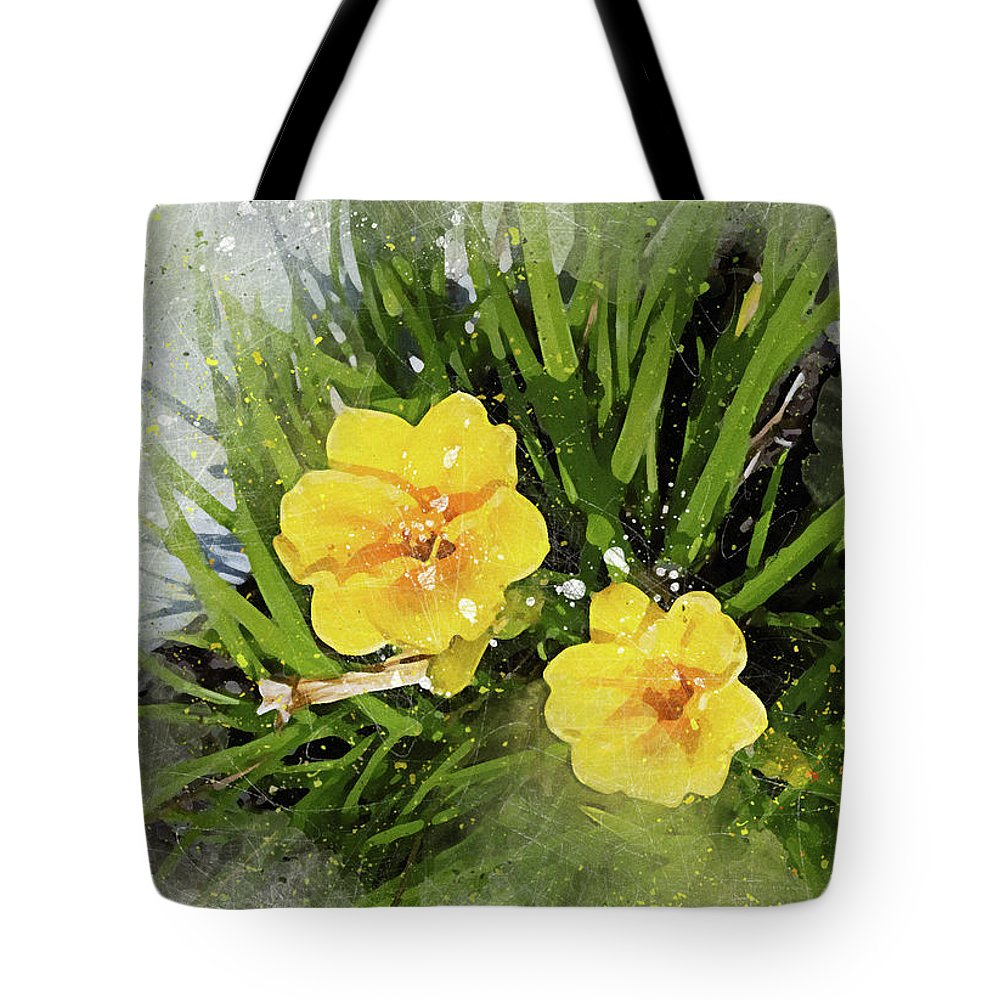 Two Yellow Flowers Peggy Cooper Art Photography Digital Watercolor Photo-illustration Flowers Floral Plants Nature Impressionism Modern Impressionist Prints Canvas Large Medium Small Mugs Shower Curtains Towels Tote Bag Clutch Throw Pillows Phone Cases Beach Home Office Decorating Interior Design Galleries Museums Gifts Women Girls Dainty Delicate Designer Greeting Cards Note Tote Bag featuring the digital art Two Yellow Beauties-2 by Peggy Cooper