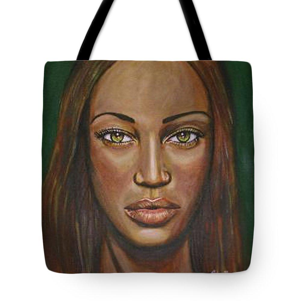 Woman Tote Bag featuring the painting Tyra by Sarah-Lynn Brown