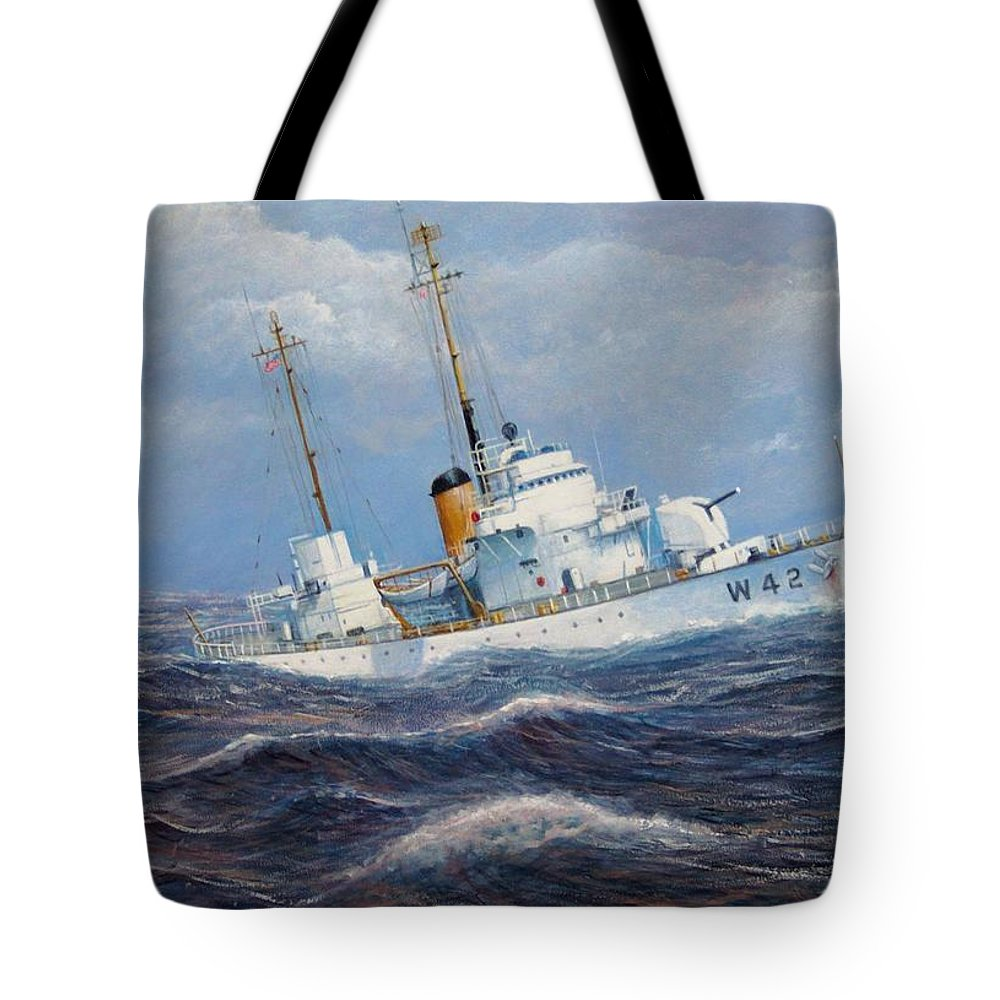 Marine Art Tote Bag featuring the painting U. S. Coast Guard Cutter Sebago Takes a Roll by William Ravell