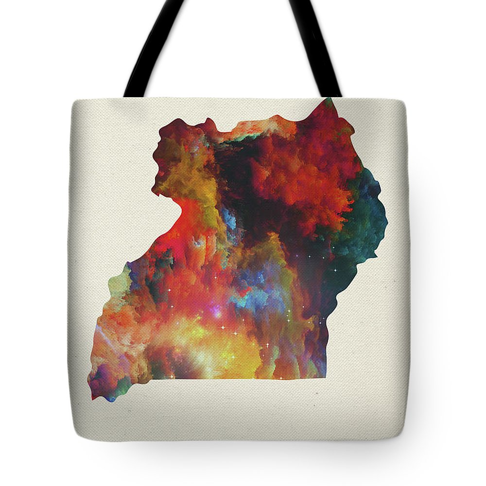 Uganda Tote Bag featuring the mixed media Uganda Watercolor Map by Design Turnpike